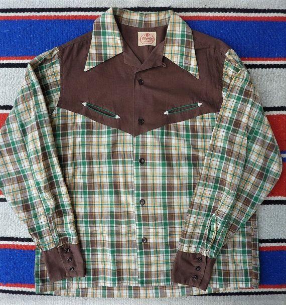 4818dd2a Sears Pilgrim Sportswear Vintage 1930s 1940s plaid western shirt by  cowpunkabilly