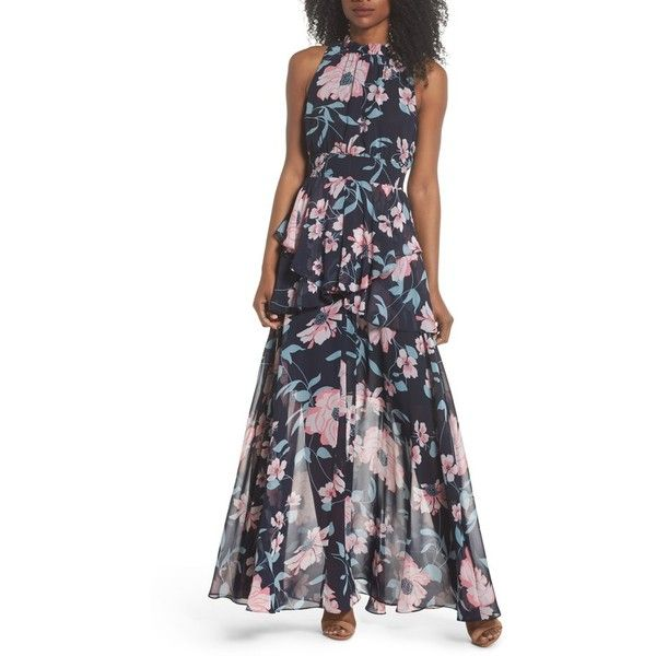 5fcc160de49 Petite Women s Eliza J Floral Maxi Dress ( 188) ❤ liked on Polyvore  featuring dresses
