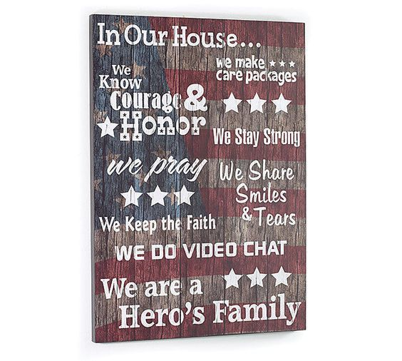 Americana Wall Decor Plaques Signs: MILITARY LIFE Patriotic Hero's Family Word Art Wooden Sign