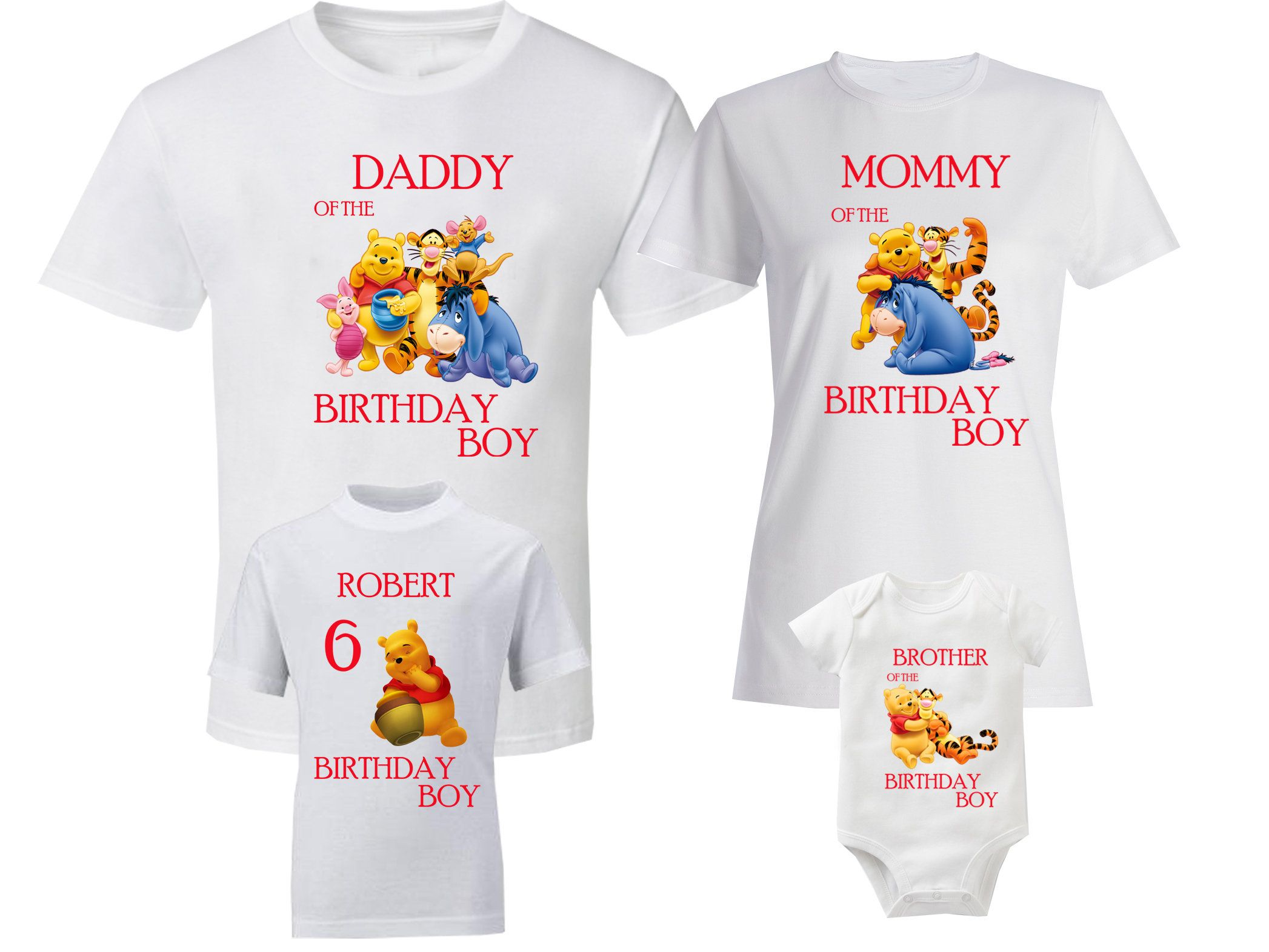 Winnie The Pooh New Custom Personalized Birthday Party Favor T Shirt Tee