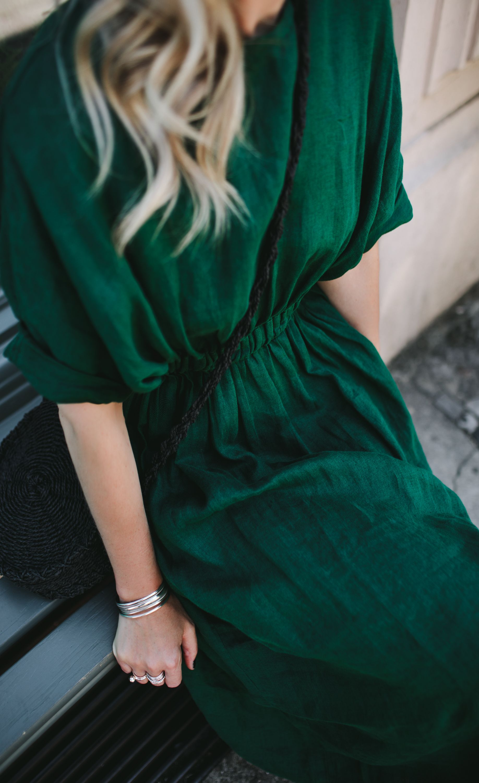 dc3c9c61d1 Linen dress green in 2019