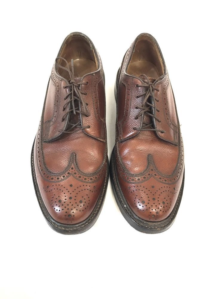 Mens VTG FLORSHEIM IMPERIAL Wingtip Brogue Cognac Oxford Dress Shoes Size  7.5 D  Florsheim  Oxfords 9a6df32461b