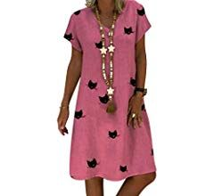 Photo of Women Summer Beach Dresses Retro V-Neck Linen Dresses Knee Length Dresses …