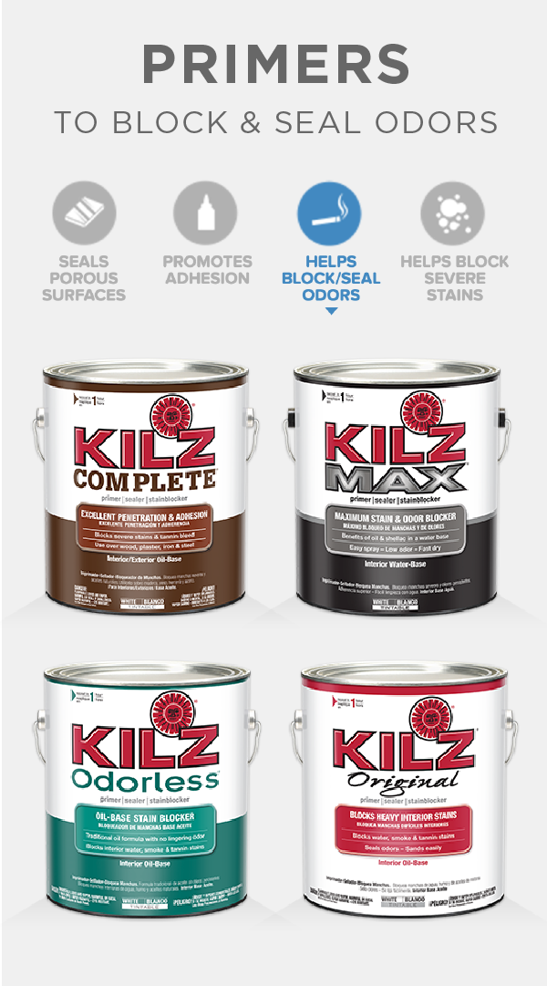 KILZ line of premium primers is ideal for blocking stains and ...