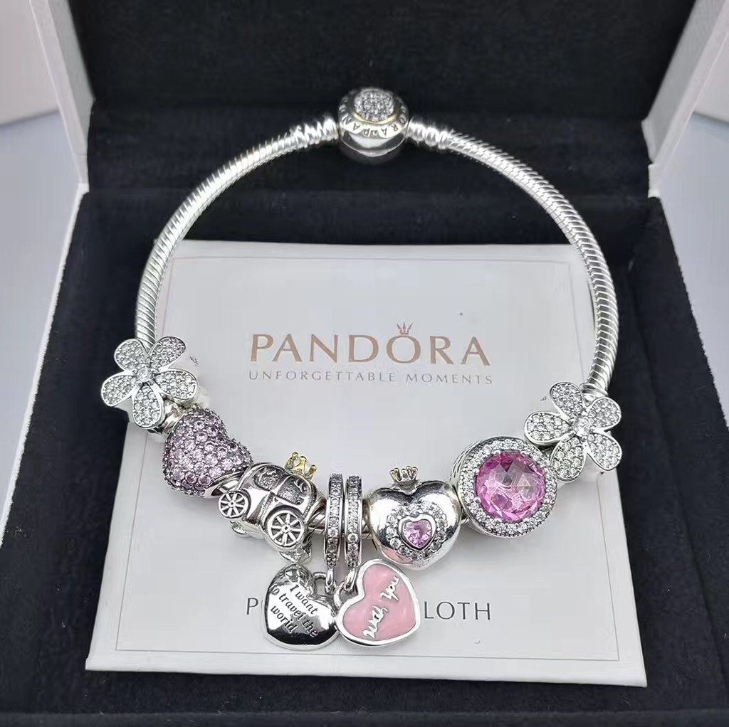 New Charm Bracelets: NEW Pandora Charm Bracelet With 8pcs Charms/golden Head