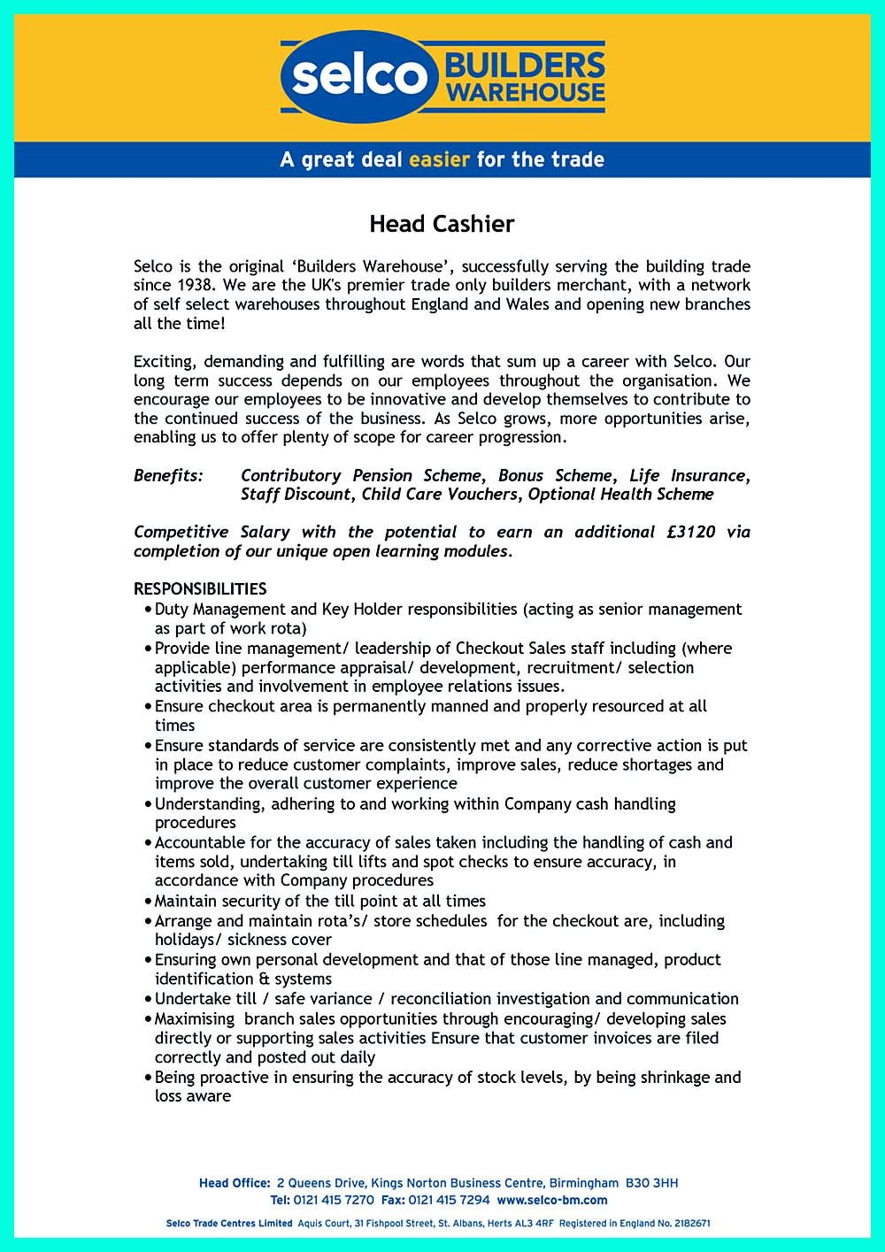 If You Want To Make A Great And Impressive Cashier Resume Make Sure
