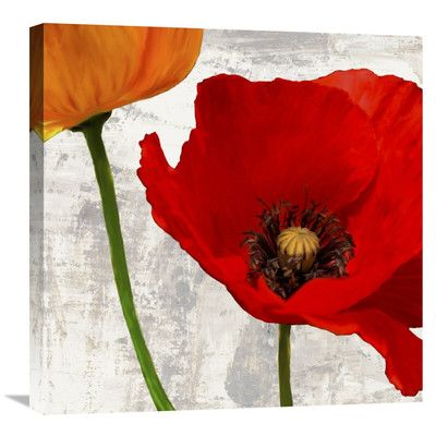 """Global Gallery 'Summer Poppies I' by Jenny Thomlinson Painting Print on Wrapped Canvas Size: 24"""" H x 24"""" W x 1.5"""" D"""