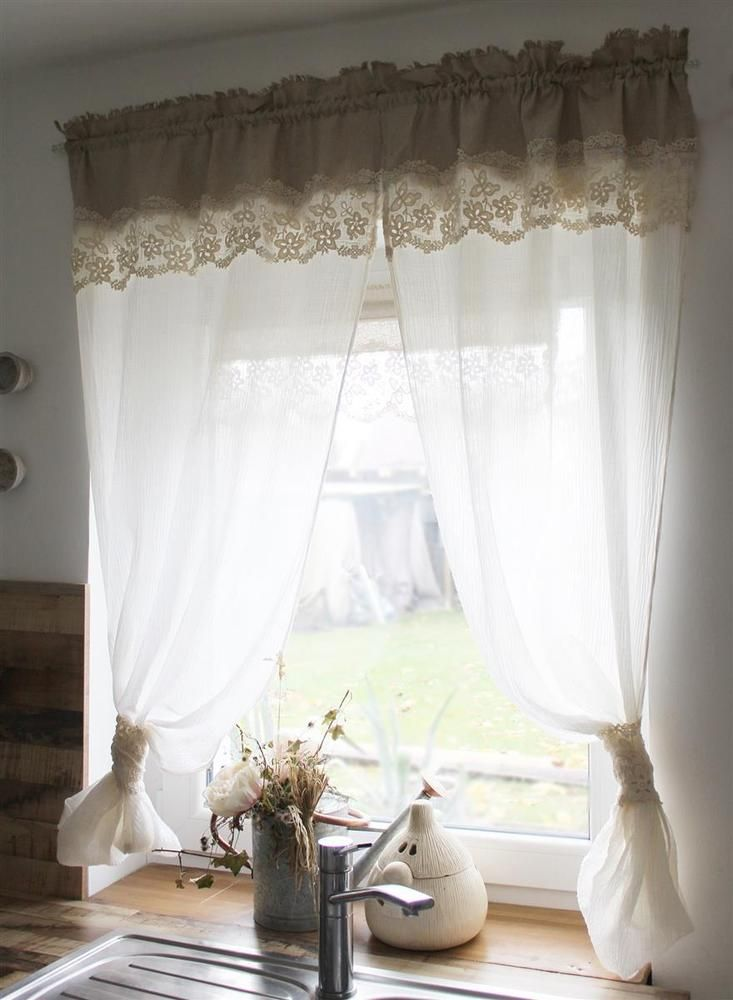 Details about Seiten-Schal in Linen Look and Cotton Tip in Cream Shabby Chic Vintage