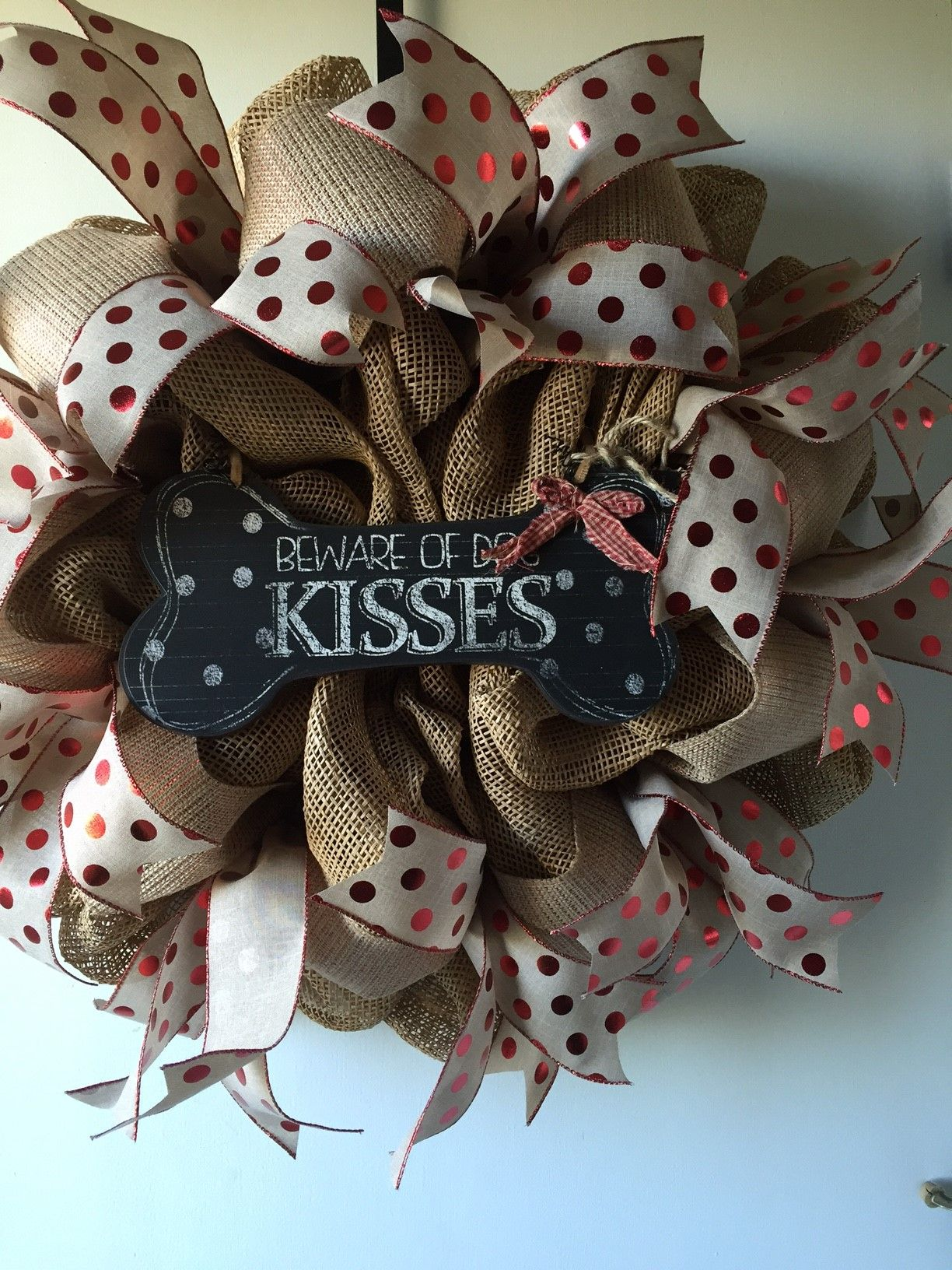 Beware of Dog Kisses Deco Mesh Wreath by Victorian Elegance: Etsy Store:  Gypsy505Soul