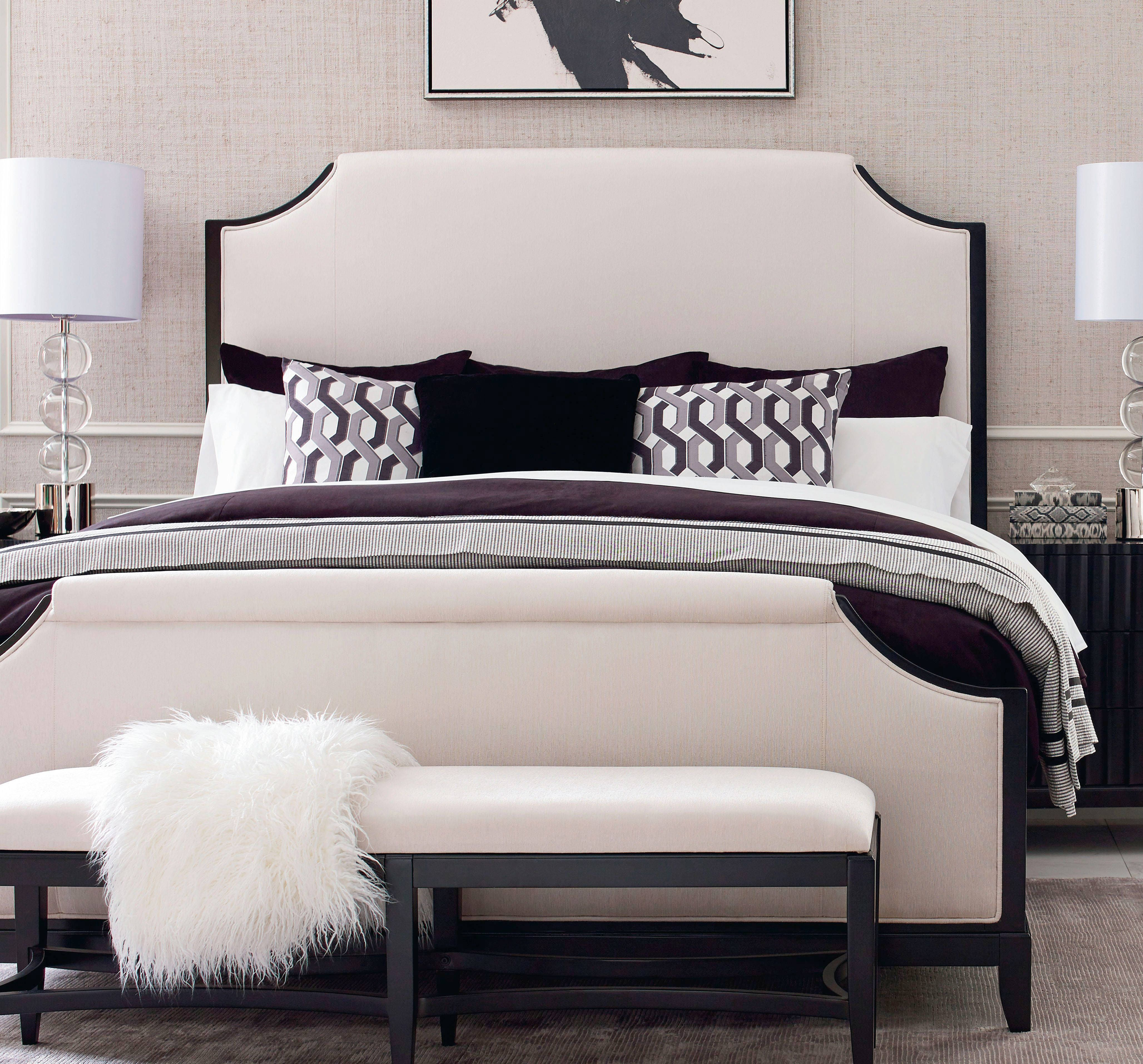 Symphony Platinum Black Tie Ivory Fabric Upholstered King Bed