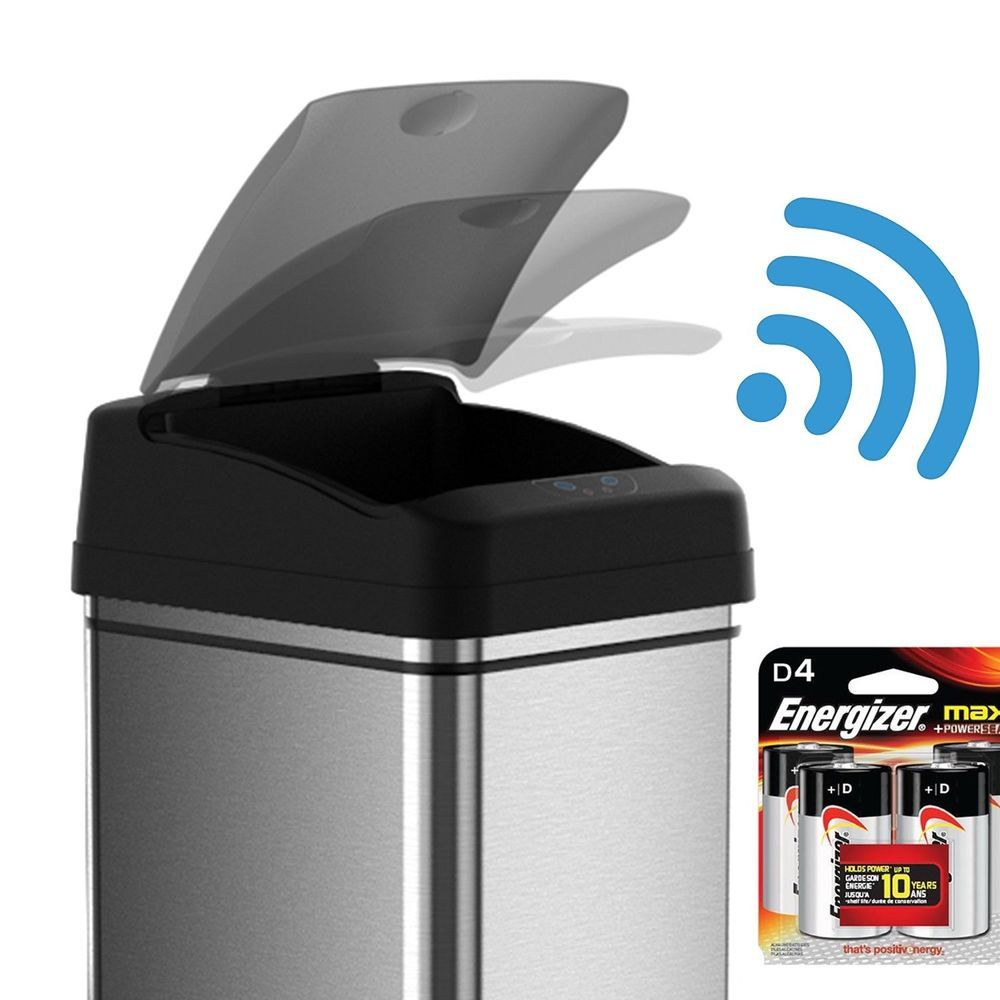Automatic Kitchen Motion Sensor Touchless Lid Open Metal Trash Can With  Battery