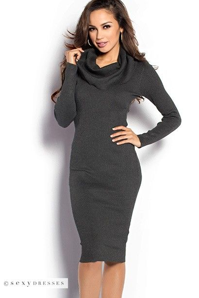 Long Sleeve Off Shoulder Bodycon Charcoal Gray Sweater Dress ...