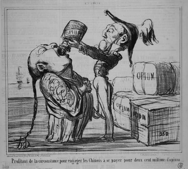 Image result for chinese on opium cartoon