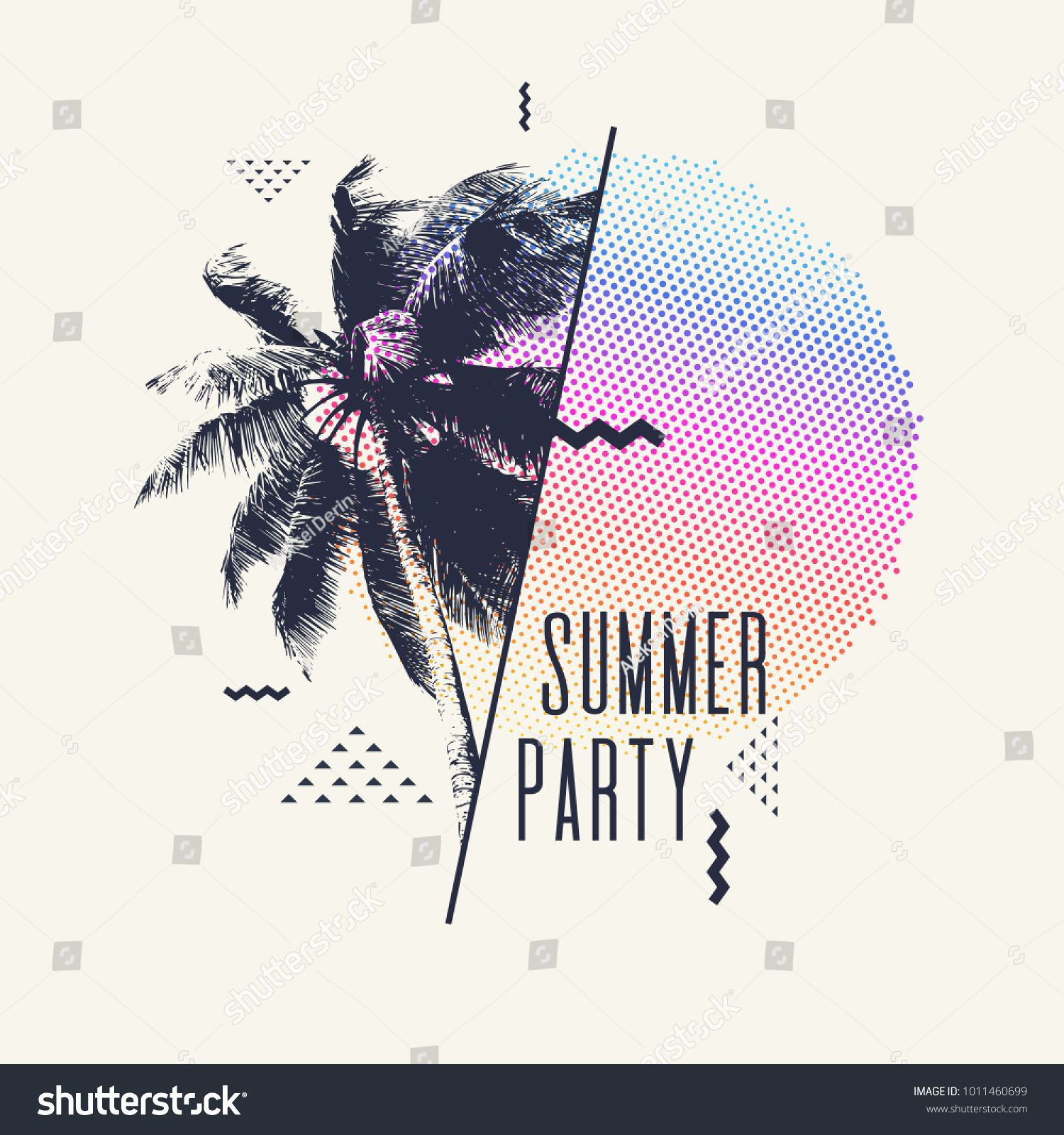 Summer Party Modern Poster With Palm Tree And Geometric Graphic