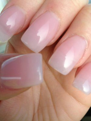 Closer look of natural tips with pink acrylic finished with lite ...