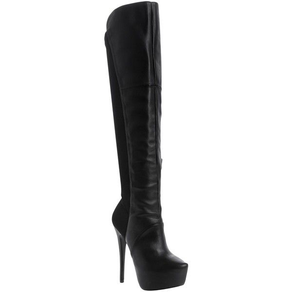 Steve Madden Highting Over the Knee Boots, Black ($165) ❤ liked on Polyvore featuring shoes, boots, tall boots, tall black boots, flat black knee high boots, over-the-knee high-heel boots, over-knee boots and over the knee flat boots