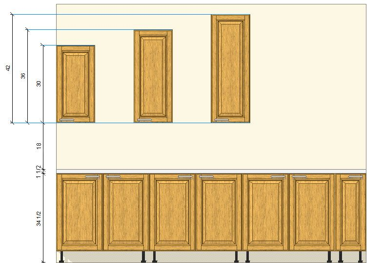 Kitchen cabinets wall pantry standard stock sizes for Standard space between counter and upper cabinets