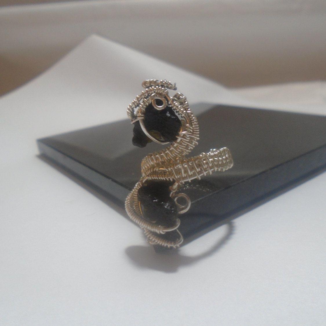 Moldavite ring, Meteorite ring, Moldavite jewellery, Meteorite ...