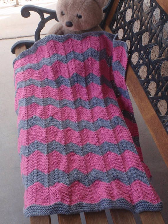 Hand Knitted Baby Blanketbright Pink And Gray Baby Baby Blankets
