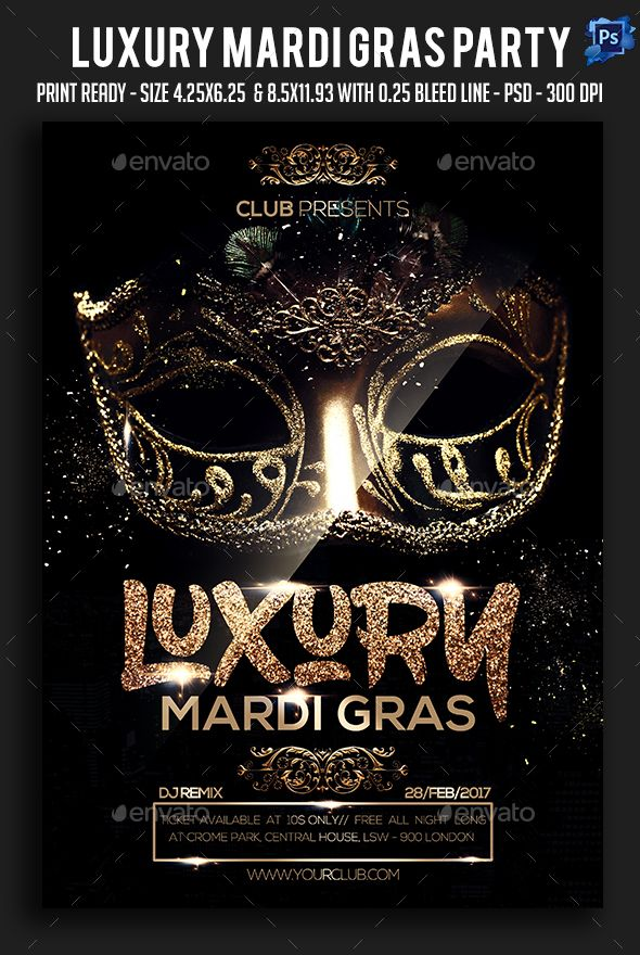 Luxury Mardi Gras Party Flyer Party flyer, Mardi gras and Luxury
