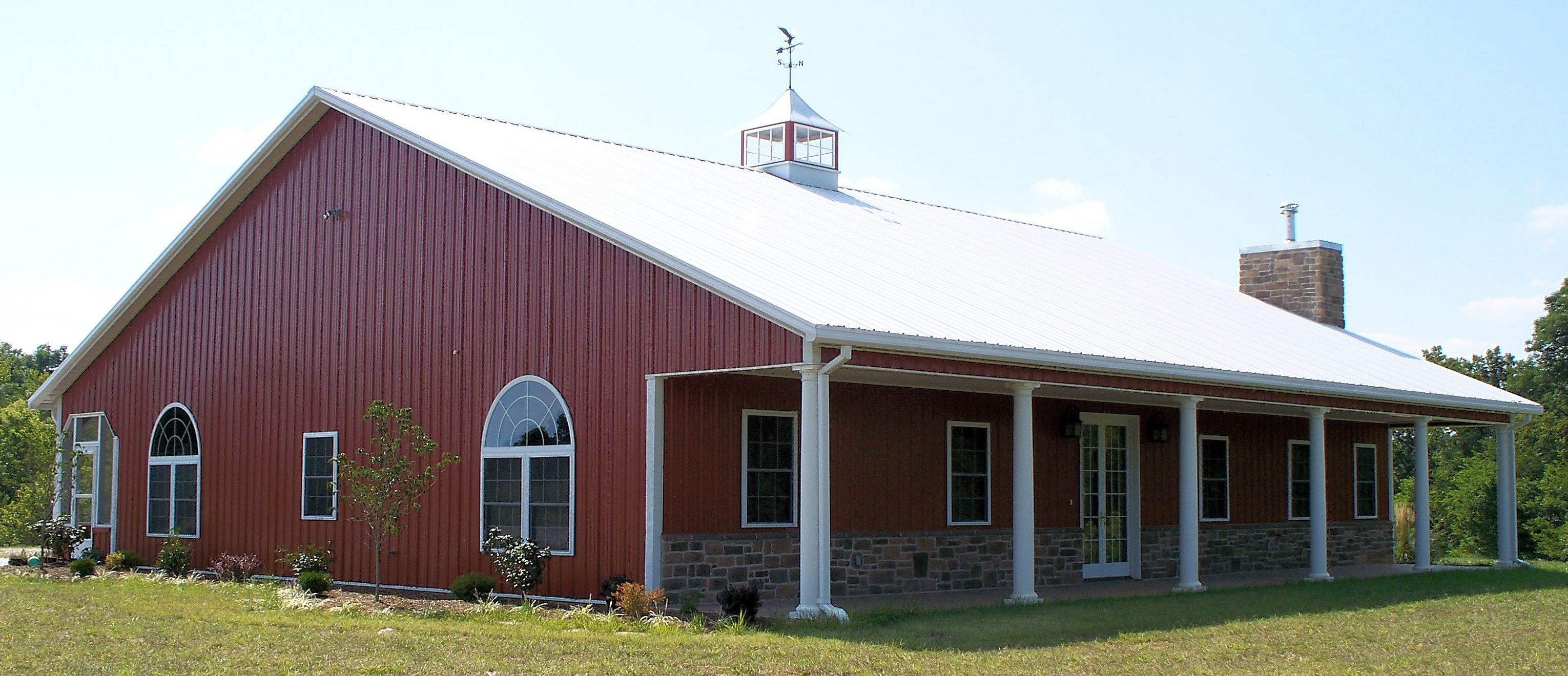 Metal building house pole barn homes pinterest for Steel barn homes