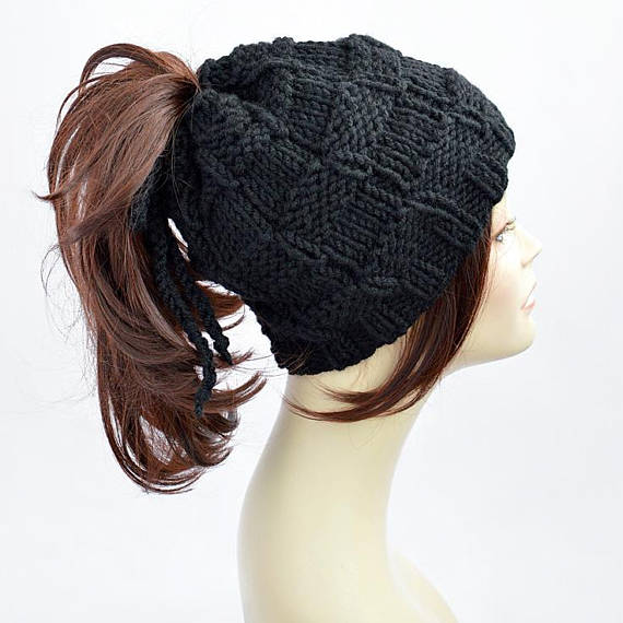 Ponytail Hat Pattern    Easy Knitting Pattern Hat Pattern Ponytail Beanie  Womens Hat Pattern Ponytai 0c5a1ac18fb