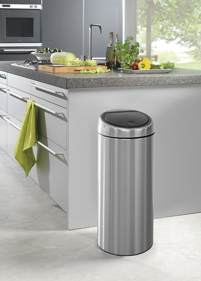 Brabantia Touch Bin 30 Liter Mat.Brabantia Touch Bin Matt Steel Got It 2018 19 Elegant Kitchens