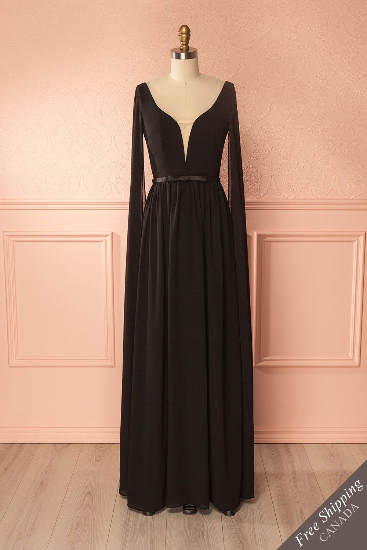 Lallie black long chiffon skirt bodice and goddesses