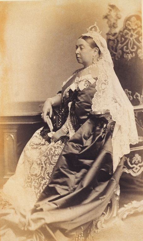 The Royal Collection: Portrait photograph of Queen Victoria (1819–1901) dressed for the wedding of The Duke and Duc