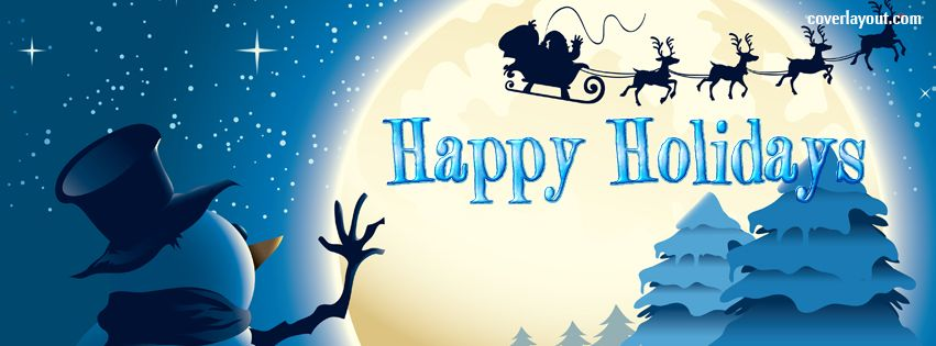 Happy Holidays Snowman Santa Facebook Cover CoverLayout.com ...