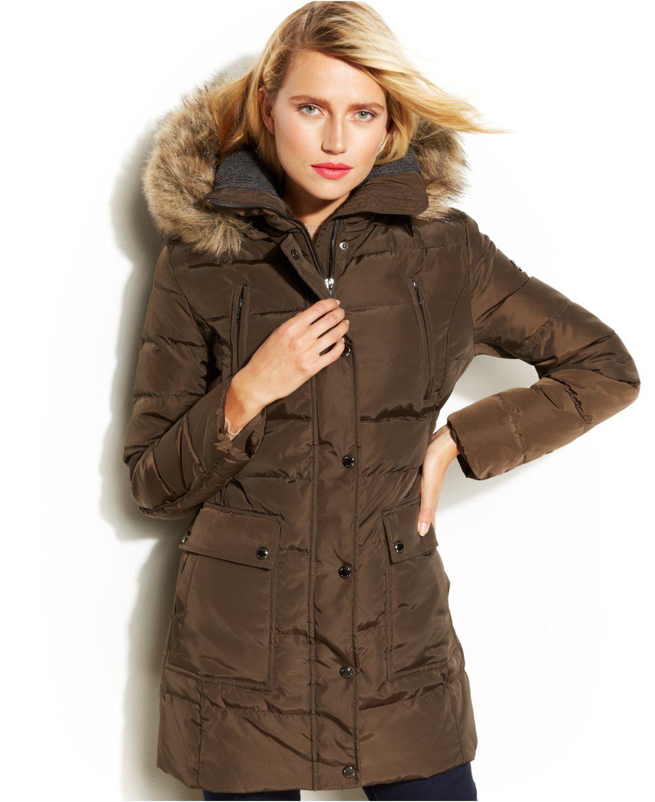 Michael Michael Kors Hooded Faux Fur Trim Down Puffer Coat Coats Women Macy S Down Puffer Coat Hooded Faux Puffer Coat [ 1616 x 1320 Pixel ]