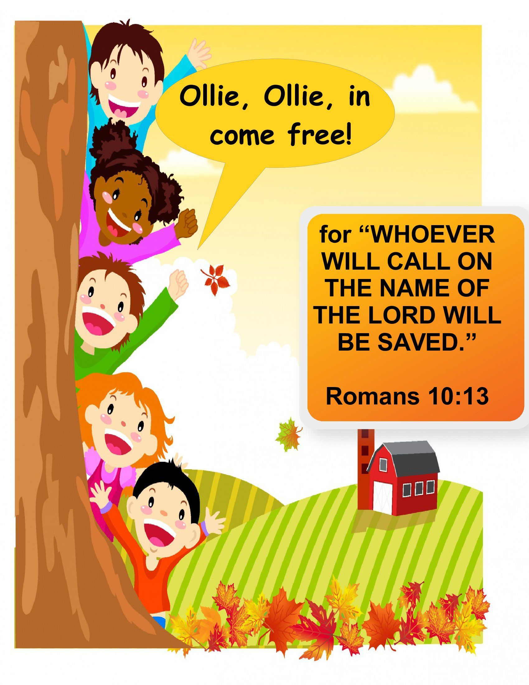 Romans 10 13 Ollie Ollie In Come Free Vector Free Kids Vector Graphic Design Art