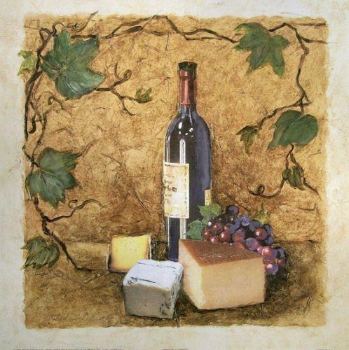 Charlene-Olson-Merlot-Cheese-Fertig-Bild-30x30-Wandbild-Kueche - küchenbilder auf leinwand