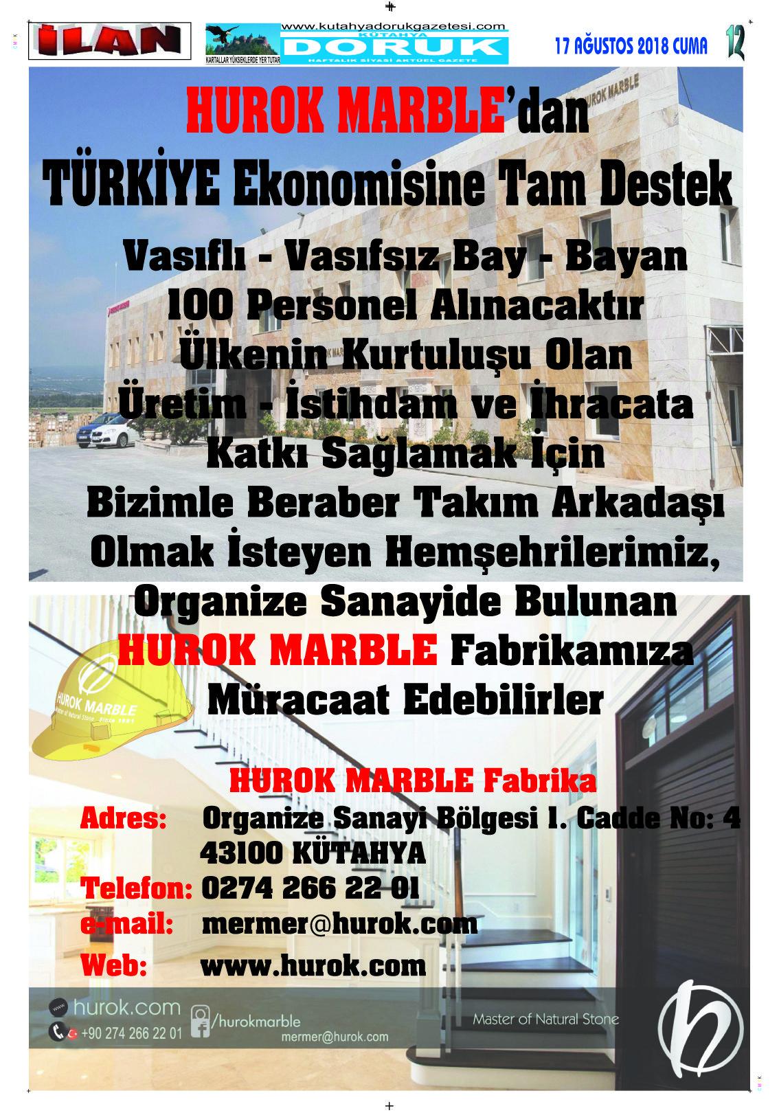 17 Agustos 2018 Sayfa 12 Kutahya Doruk Gazetesi Hurok Marble Dan Turkiye Ekonomisine Tam Destek 17agustos Dorukgazetesi Gazete Ku 17 Agustos Ekonomi Gazete