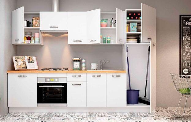 Cocina Color Blanco En Kit Compuesta Por Módulos De Fácil