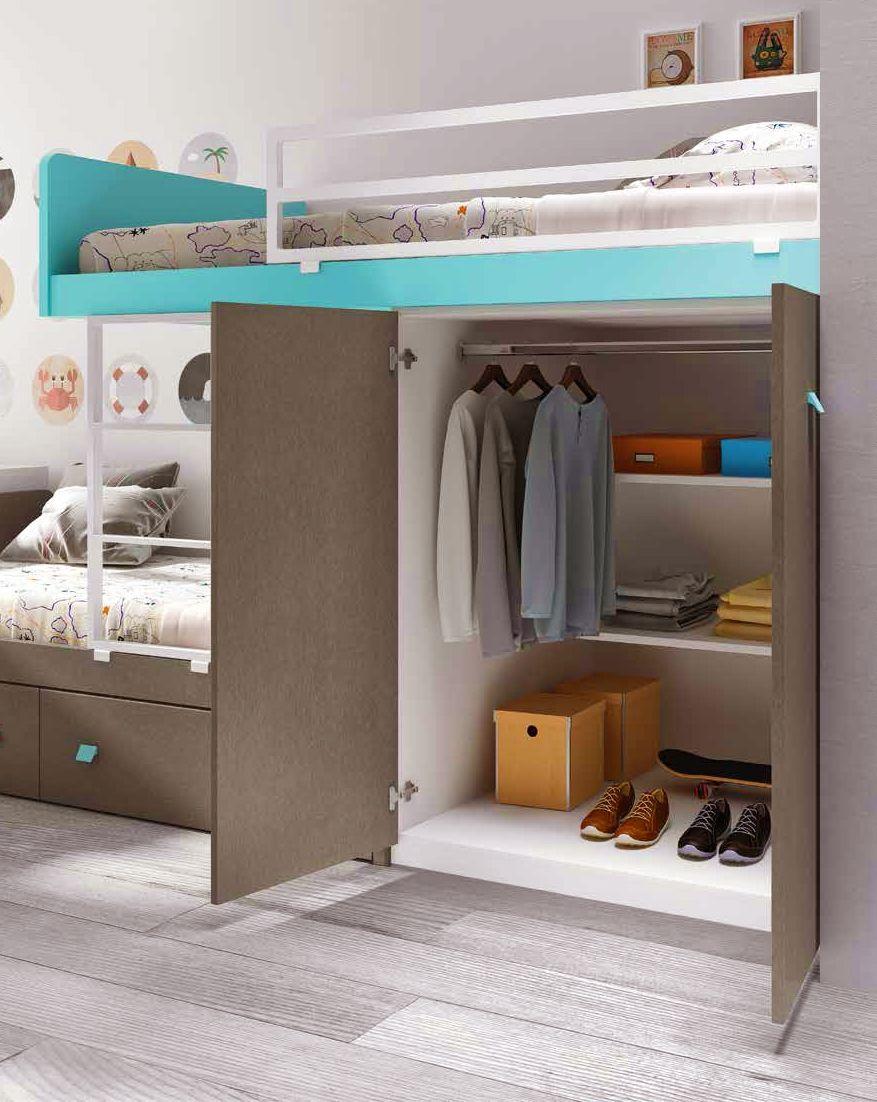 lit superposé fille avec bureau et rangement - glicerio | lit
