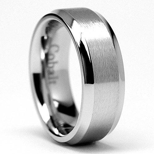 8MM High Polish Matte Finish Men's Cobalt Chrome Ring