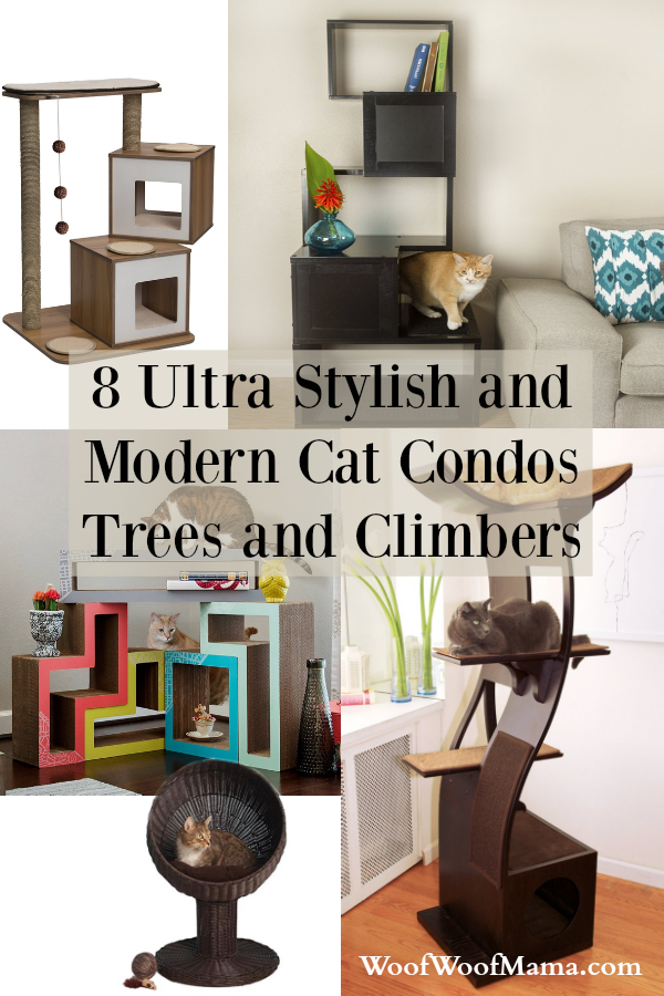 8 Ultra Stylish And Modern Cat Condos Trees And Climbers For Your Refined Feline Woof Woof Mama Modern Cat Furniture Modern Cat Tree Modern Cat