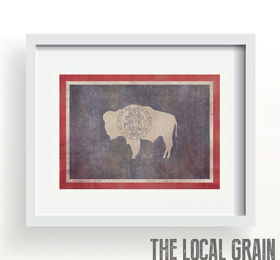 Wyoming Flag Print By TheLocalGrain On Etsy, $17.00