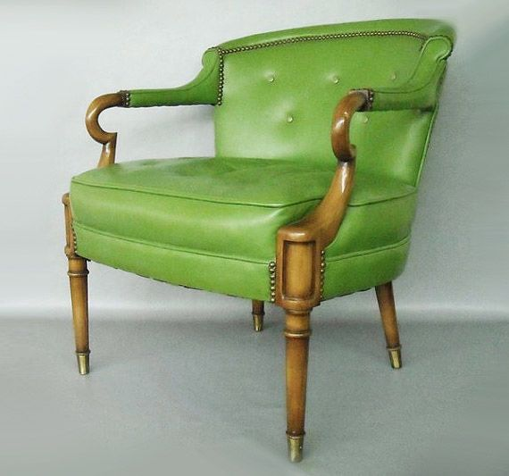 Marvelous Apple Green Leather Chair