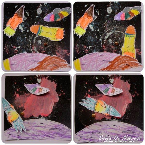 Silvia Scrap: Escrapeando con niños: Una tarjeta espacial