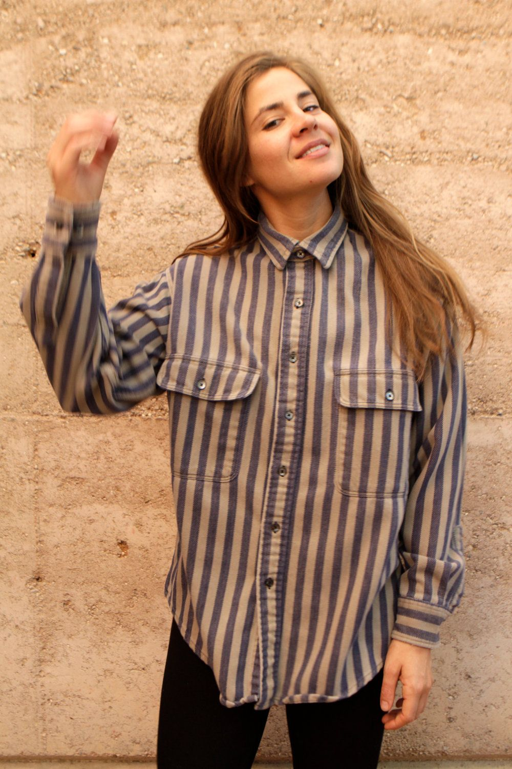 90s women fashion flannel  s STRIPED vertical thick TWIN peaks GRUNGE flannel shirt  Fill