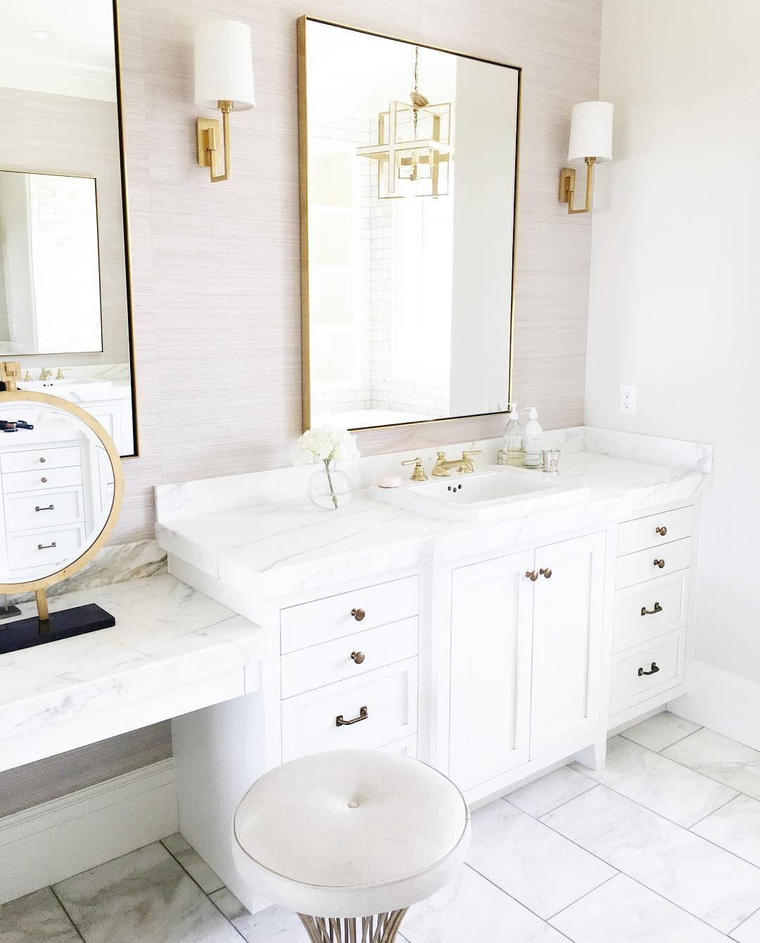 Bathroom, Bathroom Sconces, Bathroom With Makeup Vanity