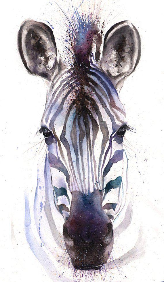 Watercolor ZEBRA PRINT – zebra art print, zebra painting, zebra wall art, zebra gifts, purple zebra decor, zebra wall decor, zebra artwork