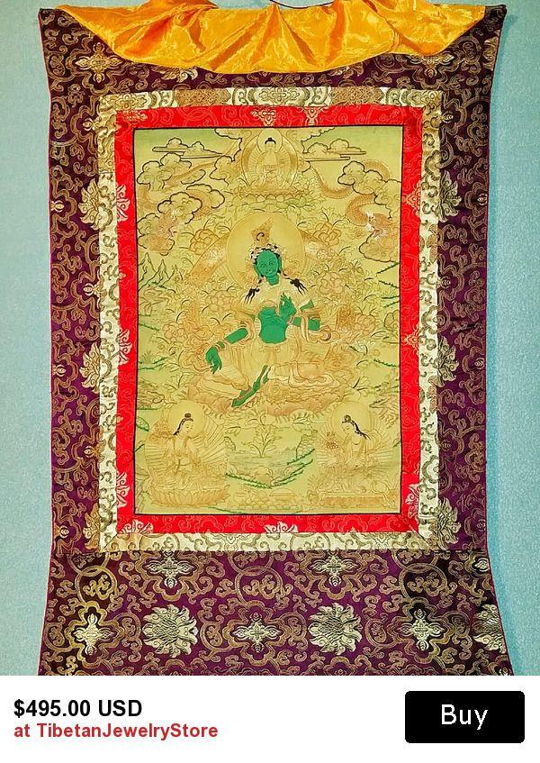 Green Tara Tibetan Thangka, Tibetan religious artifacts, Religious ...