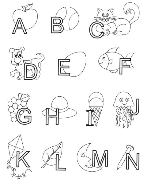 Alphabet Letters Interlaced With Objects Abc Coloring Pages Alphabet Coloring Pages Abc Coloring Pages Abc Coloring