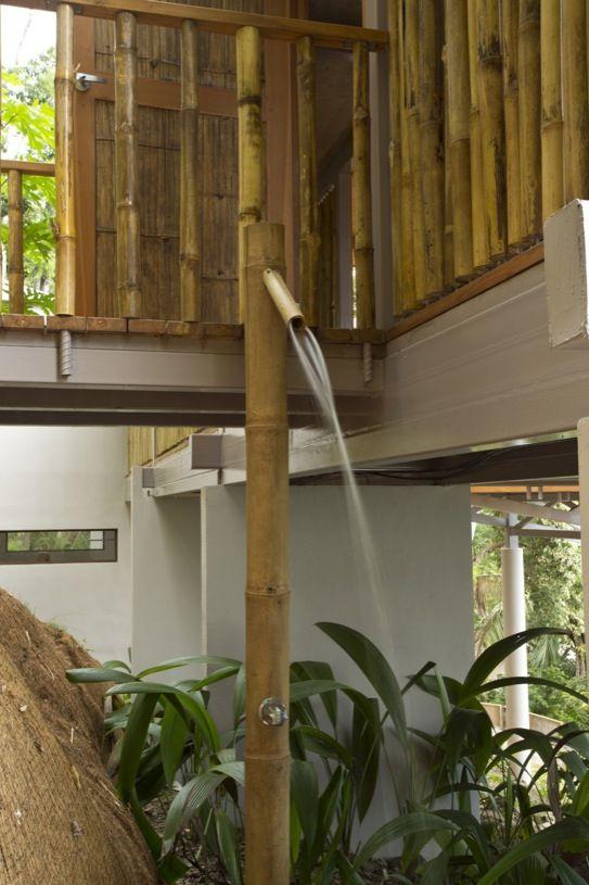 Ducha pared trasera bambú de ducha de diseño