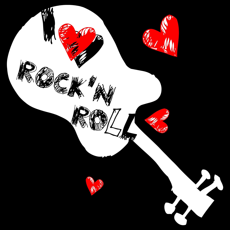 I Love Rock N Roll Music Girl Guitar Illustration