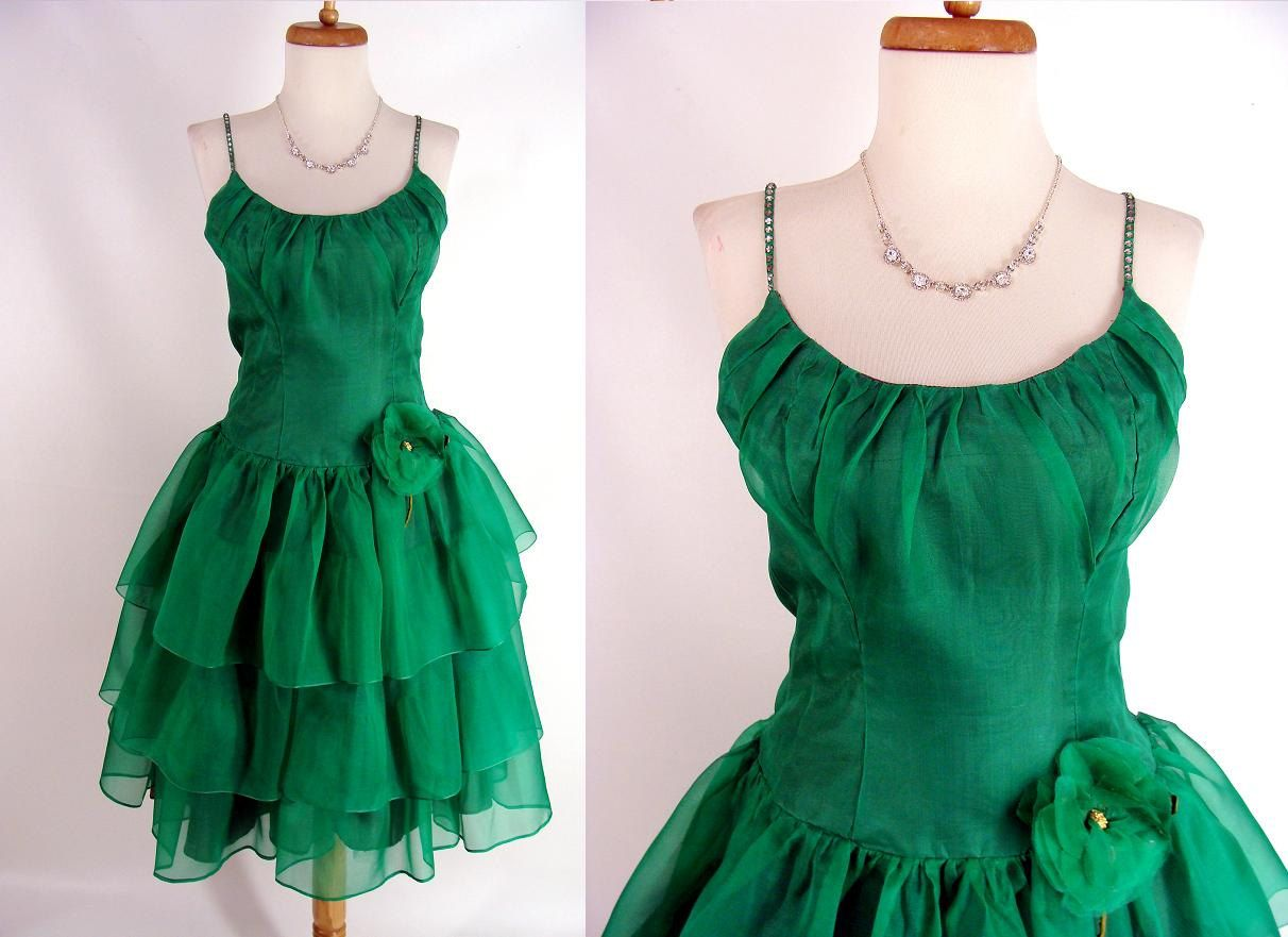 60s green dress  TEMPORARILY REDUCED was  vintage s s Emerald Green Silk