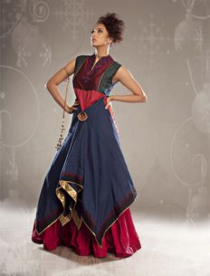 4973c6649d459 Asymmetrical Layer Dress Blue - Shruti Sancheti Indian Ethnic Wear